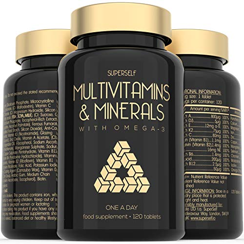 Multivitamins and Minerals with Omega 3 - Multivitamin Tablets for Men and Women - Multi Vitamins for Adults with Iron, Zinc, Vitamin D, C, E, B Complex - 120 Tablets - 26 Key Nutrients - Made in UK