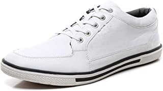 Classic Men Sneakers For Walking Skate Shoes Lace Up Microfiber Leather Round Toe Flats Solid Color Super Plus Size Antislip Casual Walking Sneakers (Color : White, Size : 50 EU)
