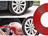 CARALL Profilo Rosso Adesivo Decorativo Per Cerchi Auto Moto, Striscia Adesiva Resistente, Rotolo da 8 Metri