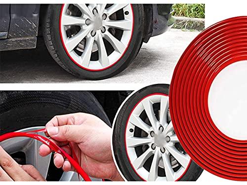 CARALL Pegatina decorativa de perfil rojo para parachoques exterior interior, tira adhesiva para llantas de motocicleta de coche, rollo de 8 metros