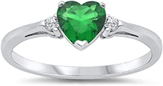 Oxford Diamond Co Sterling Silver Gemstone Heart Promise Love Jewelry Ring Sizes 3-12