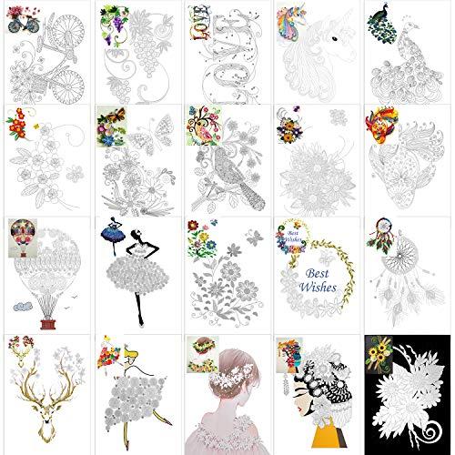 Qpout 20 STÜCKE Papier Quilling Kits Werkzeuge Zubehör,Manuscript Paper,Design Zeichnungen, Papier Quilling Zeichnungen Papers Pattens