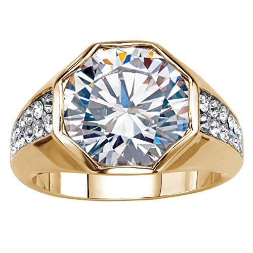 Palm Beach Jewelry Men's 14K Yellow Gold Plated Round Cubic Zirconia and Round Crystal Octagon Ring