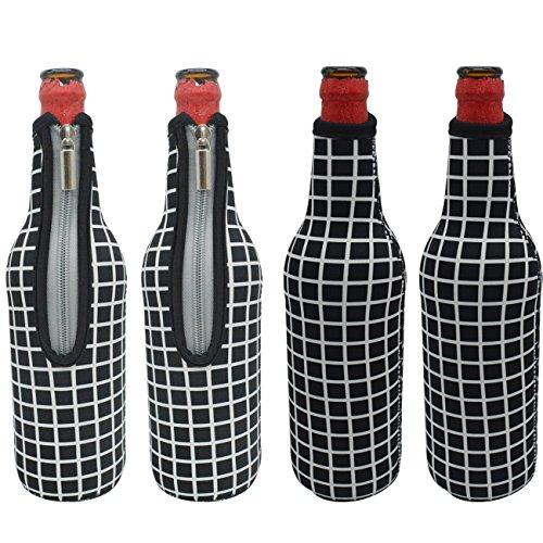 Orchidtent Bier Flaschenkühler mit Reißverschluss, 4 Stück 17,6 oz Isolierte Neopren Bier Flasche Sleeve Schutzhülle Tragetasche für, Ihre Getränke Bier Cider Getränk gekühlt Wasser für Party Bar Home (schwarz Grid)