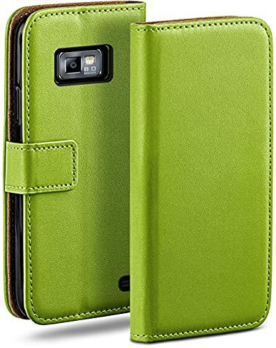 moex Klapphülle kompatibel mit Samsung Galaxy S2 / S2 Plus Hülle klappbar, Handyhülle mit Kartenfach, 360 Grad Flip Hülle, Vegan Leder Handytasche, Grün