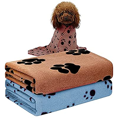 Pack of 2 Cute Paw Print Blanket Puppy Dog Blanket Pet Blankets Small Animals Blanket for Small Animals, Beige, Light Blue,Pet blanket, puppy blanket