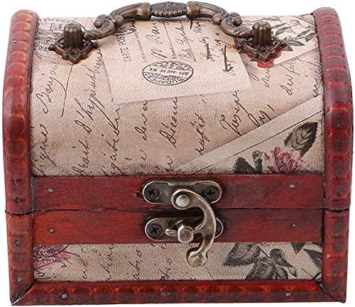 Caja de almacenamiento del tesoro de madera, caja de almacenamiento vintage de metal con cerradura