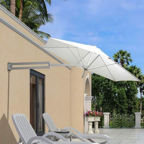 LJA Outdoor Parasol de Pared Parasol Balcón Vacaciones Jardín al Aire Libre Cantilever Sombrilla sombrilla inclinable con Poste de Metal (Color : White)