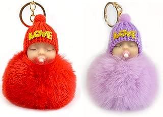 2PCS Sleeping Baby Doll Keychain LOVE Cute Key Ring Holder Keychain Bag Pendant Great as Christmas Gift (Love)