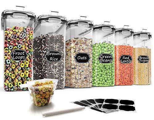Wildone Müsli-Behälter-Set aus Kunststoff, 6 große (16,9 Tassen, 384 ml), luftdichte Frischhaltedosen – auslaufsicher, BPA-freier Müsli-Spender | Mehl, Zucker, trockene Lebensmittel mit schwarz Deckel