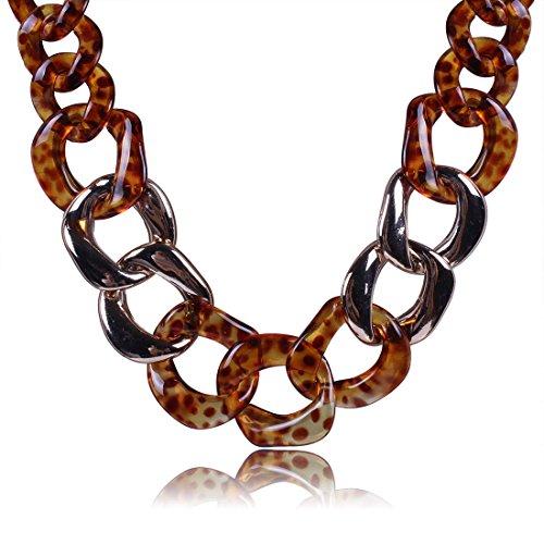 QIYUN.Z Resina De La Impresion del Leopardo del Oro 18K Enlace Circulo Alrededor del Collar De Gargantilla Babero