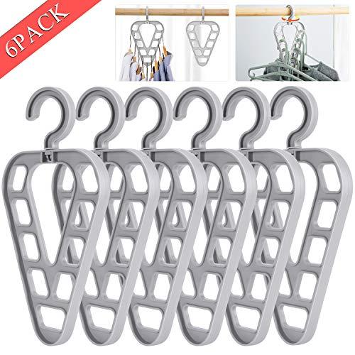 Fostoy Neuheit 6 Stück Kleiderbügel,Platzsparende Kleiderbügel, 360 Grad Drehbares rutschfeste Standard-Kleiderbügel,Drehbarer Magie Multifunktion Kleiderbügel mit 9 Löchern