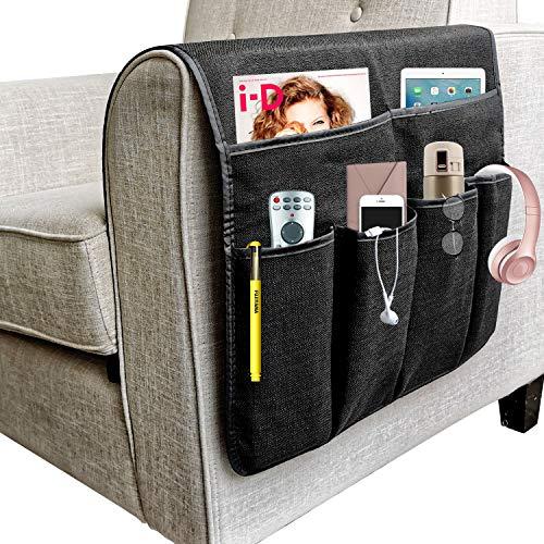 NGLVKE - Grande organizer per divano, porta telecomando TV, antiscivolo, con 6 tasche per riviste, libri, cellulare, iPad, Lino PVC, Nero , 19.7*35 inch