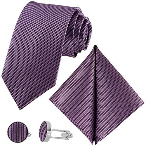 GASSANI 3-SET Violette Krawatte Streifen gestreift | Binder Lila Manschettenknöpfe Einstecktuch | Krawattenset zum Anzug Seide-Optik