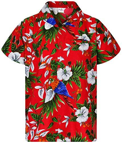 King Kameha Funky Hawaiihemd, Kurzarm, Cherryparrot New, Rot, XL
