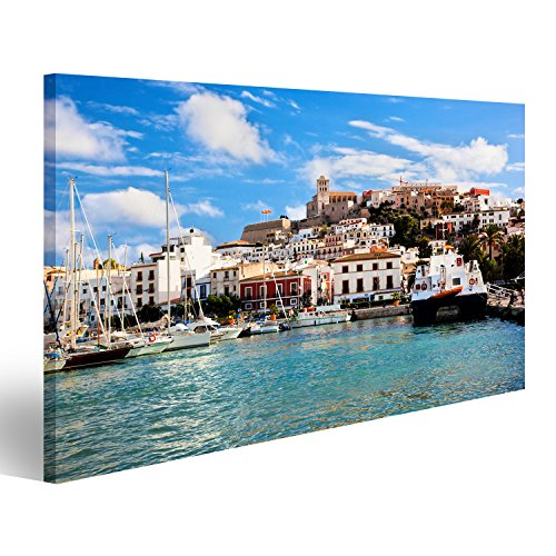 islandburner Cuadro Cuadros Panorama del Casco Antiguo de Ibiza - Eivissa España, Islas Baleares Impresión sobre Lienzo - Formato Grande - Cuadros Modernos