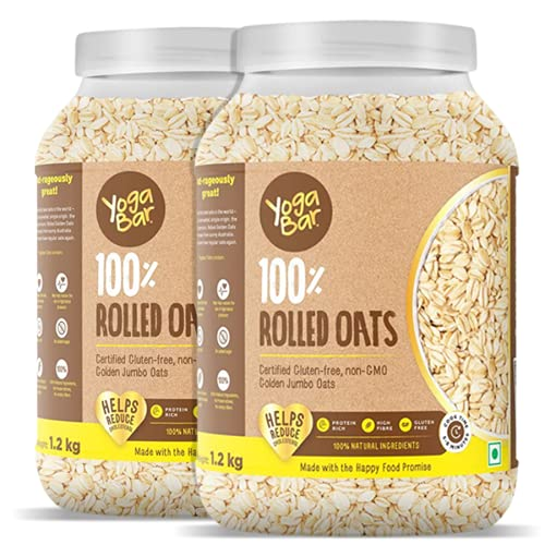 [Apply coupon] Yogabar 100% Rolled Oats 1.2 kg (Buy 1 Get 1 Free), Premium Golden Rolled Oats, Gluten Free Oats with High Fibre - Pack of 2
