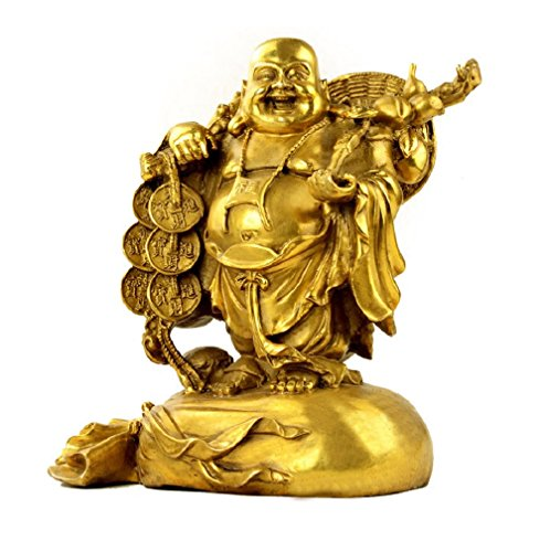 Fengshui Buddha Statues for Lucky & Happiness,Laughing Buddha Figurines Sculptures Carrying Money Bag God of Wealth Statue Home Decor, Housewarming Congratulatory Gifts (Medium)
