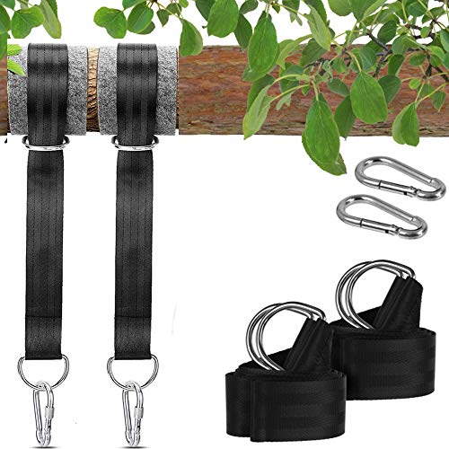 Elikliv Swing attachment, Hammock Attachment Set Suspension Hanging Chair Attachment Max 500kg with 2 tree Protection Pads and 4 Premium Carabiners