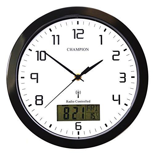 Champion, orologio da parete al quarzo con segnale radio, 25 cm, con fessure per display LCD con giorno e data, colore: nero (lingua italiana non garantita)