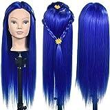 ErSiMan Frisierkopf mit Haar, 66 cm, zum Flechten von Haaren, Friseur-Übung, Puppenkopf mit Klemme, Blau