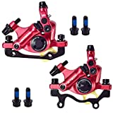 Huntfgold ZOOM HB-100 Mountain Bike Line Pulling Hydraulic Disc Brake Sets Oil Pressure Disc Brakes Tool Calipers Front/Rear (Red)
