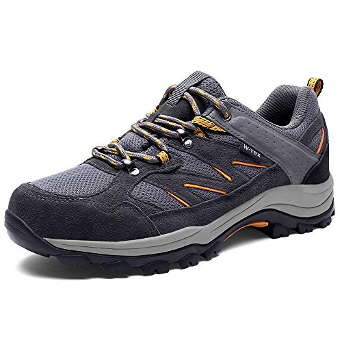 SILENTCARE Hiking Shoes Men Waterproof Non-Slip Lightweight Walking Shoes Breathable Low Top for Outdoor Trekking Backpacking Grey