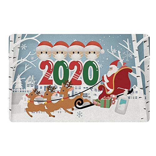 VALICLUD Paillasson de Noël 2020 Quarantaine Survécu Famille Tapis de Sol Imprimé Joyeux Noël Intérieur Extérieur Entrée Chemin Bienvenue Paillasson