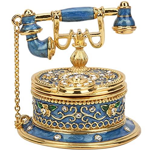 Boîte à Bijoux Vintage, Boîte à Bijoux en Forme de Téléphone Rétro Modèle en émail Boîte à Bijoux Figurine de Téléphone Décorative Cadeau Unique pour Anneaux, Boucles d'Oreilles, Colliers