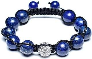 White Pave Crystal Ball Blue Lapis Shamballa Inspired Bracelet for Women for Men Black Cord String Adjustable