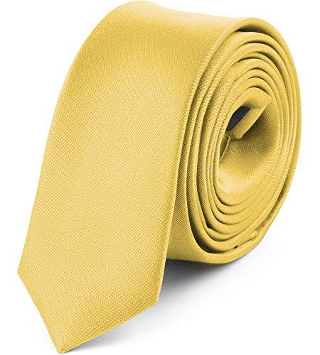 Ladeheid Corbatas Estrechas Diversidad de Colores Accesorios Ropa Hombre SP-5 (150cm x 5cm, Amarillo Claro)