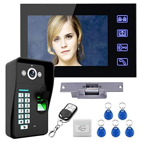 Videoportero, intercomunicador, RFID huella dactilar contraseña timbre de video con cable, monitor de 7 pulgadas + cámara de visión nocturna + cerradura eléctrica + control remoto