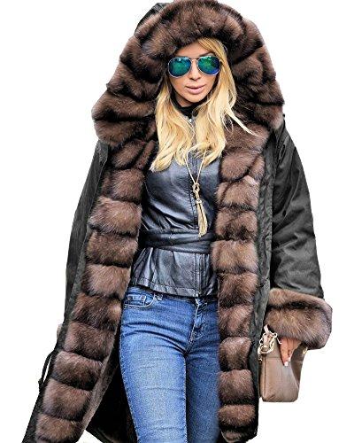 Roiii Frauen Winter Hoodies Mantel Weinrot Faux Pelz Parka Lässig Mantel Jacke Plus Größe 36-50 (46, BRAUN)