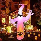 CAMULAND Fantasma di Halloween, 8 FT Fantasma Bianco Gonfiabile di Halloween Decorazione per Esterni con Colorate Luci LED Cambiabili, Ideale per Cortili, Giardini e Prati