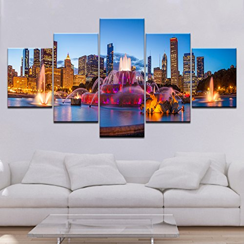 Adornlife Wand-dekor Chicago Buckingham Brunnen Landschaft 200X100CM Poster Wandkunst Bild Leinwanddrucke Malerei 5 Panels Modern Für Kinderzimmer Home Decor - Framed