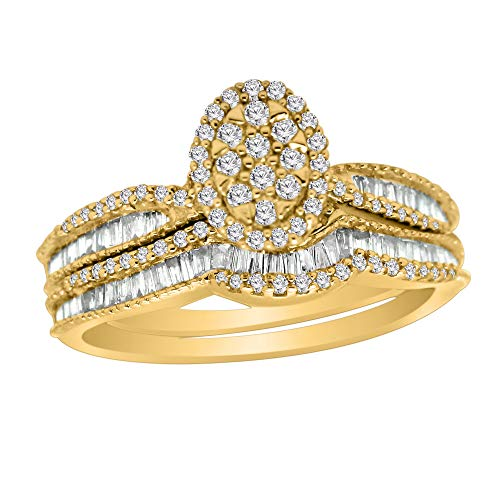 Omega Omega 0.72 Ct Round & Baguette Shape Diamond Oval Shape Engagement Ring, 925 Sterling Silver (Yellow-Gold-Plated-Silver)