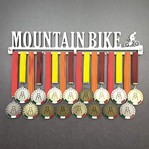 Mountain Bike - Colgador de medallas Deportivas - Medallero de Pared MTB, Bicicleta de Montaña - Sport Medal Hanger - Display Rack (450 mm x 80 mm x 3 mm)
