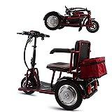 HXJZJ Triciclo de Scooter EléCtrico,Minusvalido Moto20km/H,300 W, Plegable, Reversible, BateríA de Litio ExtraíBle, Ancianos Discapacitados Inicio Coche EléCtrico Red-35km