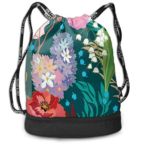MLNHY Printed Drawstring Backpacks Bags,1950s Retro Style Flourishing Design of Vintage Hydrangea and White Bell Flowers,Adjustable String Closure