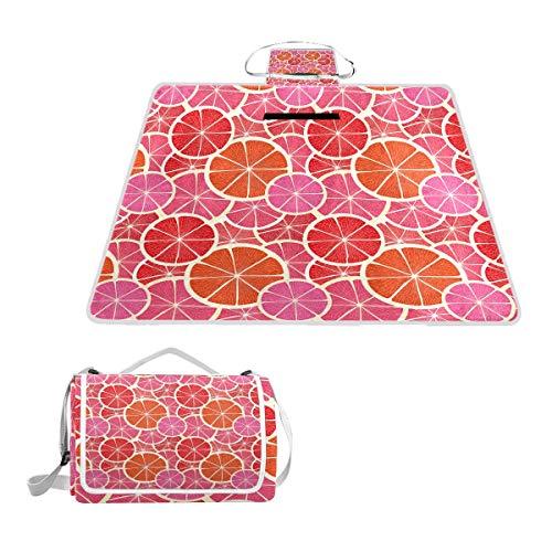 XINGAKA Couverture de Pique-Nique,Fruits Funky Pamplemousse Citrus Print,extérieure avec poignée Portable Tapis de Picnic pour Camping