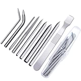 Aneco 9 Pieces Paracord Stitching Set 8 Different Size Stainless Steel Paracord FID Lacing Needles and 1 Smoothing Tool with Storage Box for Strings Laces Paracord Bracelet and Leather Weaving
