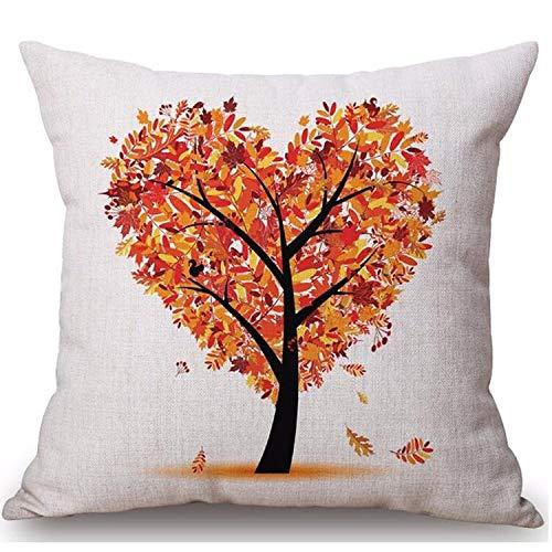 mangege Linen sofa cushion cover car sofa cushion cover home cushion heart-shaped tree plant life tree waist cushion 45cm*45cm B