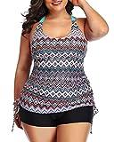 Yonique Women Plus Size Tankini Swimsuit Geometric Bathing Suit Top with Shorts Athletic 2 Piece Swimwear Pink 18plus