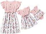 Herimmy Mommy and Me Dresses Floral Printed Matching Outfits Sleeveless Dress for Mother and Daughter Pink-White