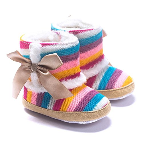 DZT1968 Baby Girl Rainbow Stripe Coral Fleece Snow Boots Shoes with Bowknot (6~12 Months)