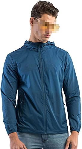 JXS-de plein air La Veste imperméable légère des Hommes, crème Solaire à Capuche de pêche séchant RapideHommest Anti-UV approprié aux Sports en Plein air,Male bleu,XXL