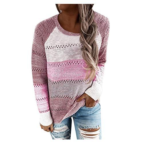 FELZ Suéteres Ligeros con Capucha para Mujer Camiseta Color Block con cordón Sudaderas con Capucha