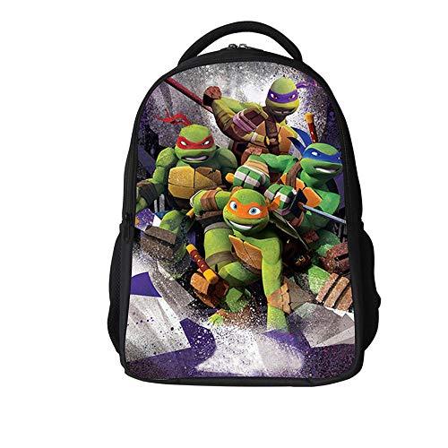 Backpack Escuela De Niños Mochila 3D Tortugas Ninja Animado Impreso Historieta Bolsas De Libros Adecuados para Niños De 6-12 2