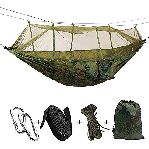 Double Camping Hammock with Mosquito Net,Hammock Tree Straps & Carabiners, Lightweight Nylon Parachute Hammocks for Camping, Travel, Beach, Hiking, Backyard(Hold Up to 660lbs),Multicolor