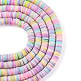 Beadthoven - 10 hebras de arcilla de polímero, redondas, planas, 6 mm, disco colorido, diseño de rebanada africana de Ghana y heishi